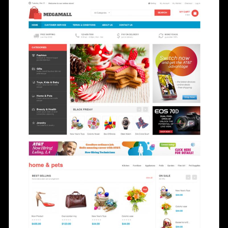 MegaMall - Responsive magento for Super market